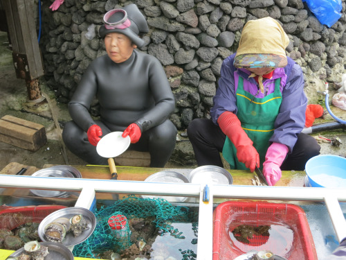 """Catches of the """"haenyeo"""" are served fresh to customers on simple platters"""